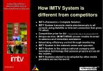 how imtv system is different from competitors
