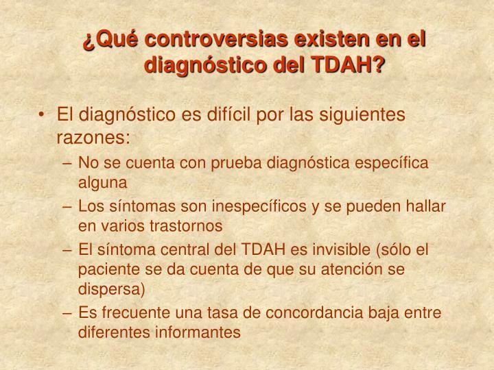 ¿Qué controversias existen en el diagnóstico del TDAH?