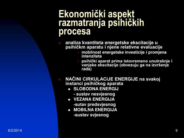 Ekonomički aspekt razmatranja psihičkih procesa