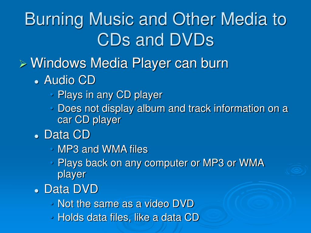 Burning Music and Other Media to CDs and DVDs