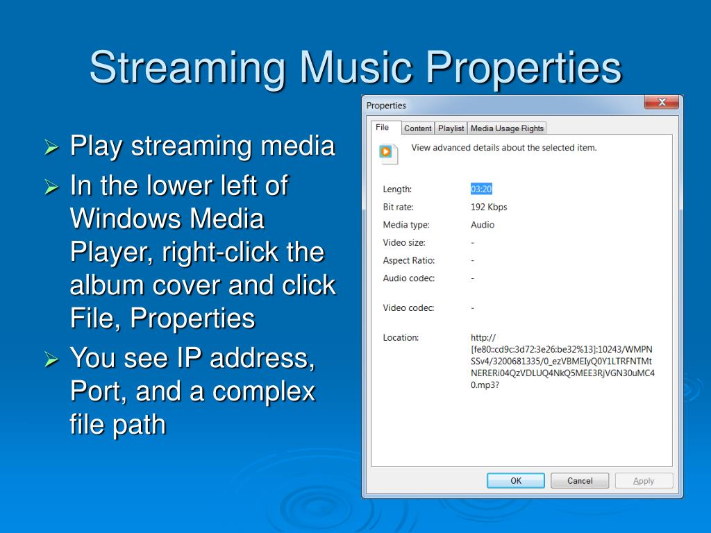 Streaming Music Properties