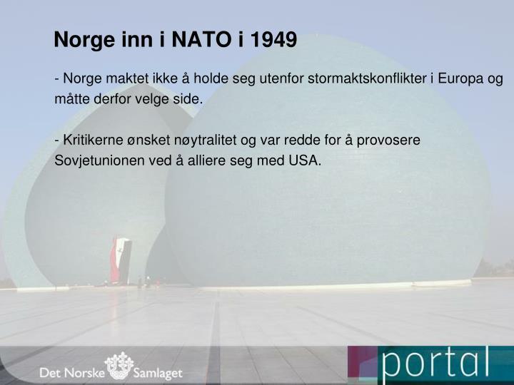 Norge inn i NATO i 1949