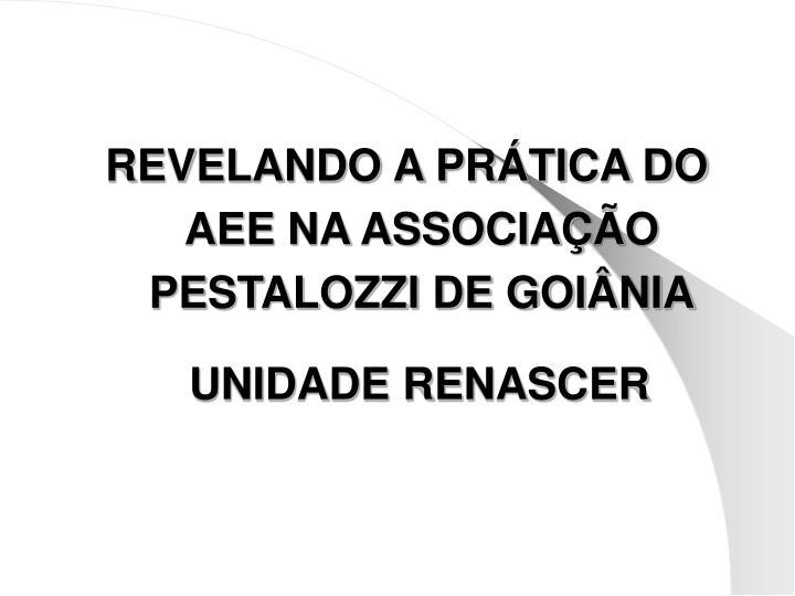 REVELANDO A PRÁTICA DO AEE NA ASSOCIAÇÃO PESTALOZZI DE GOIÂNIA