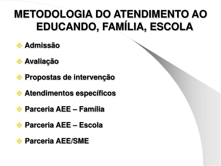 METODOLOGIA DO ATENDIMENTO AO EDUCANDO, FAMÍLIA, ESCOLA