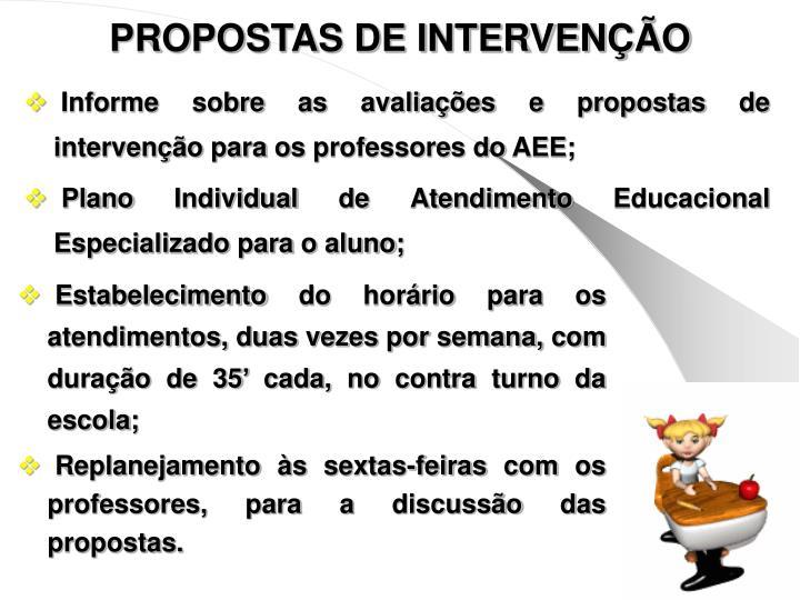 PROPOSTAS DE INTERVENÇÃO