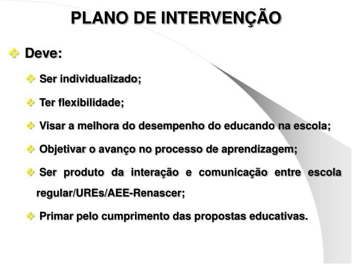 PLANO DE INTERVENÇÃO