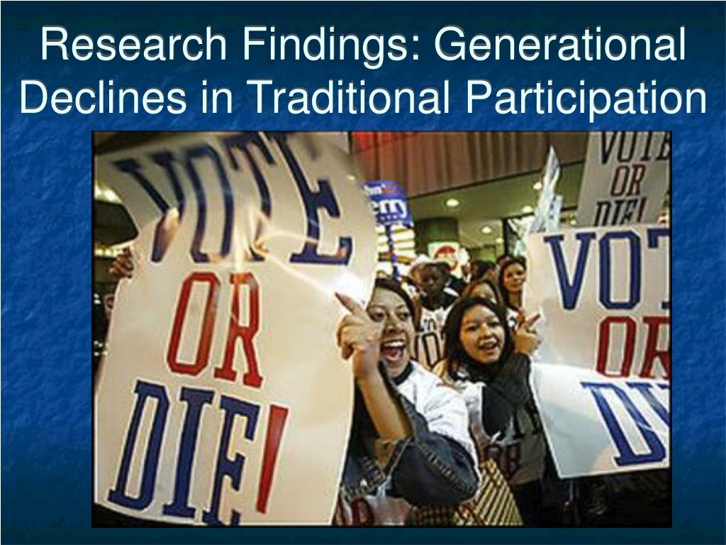 Research Findings: Generational  Declines in Traditional Participation