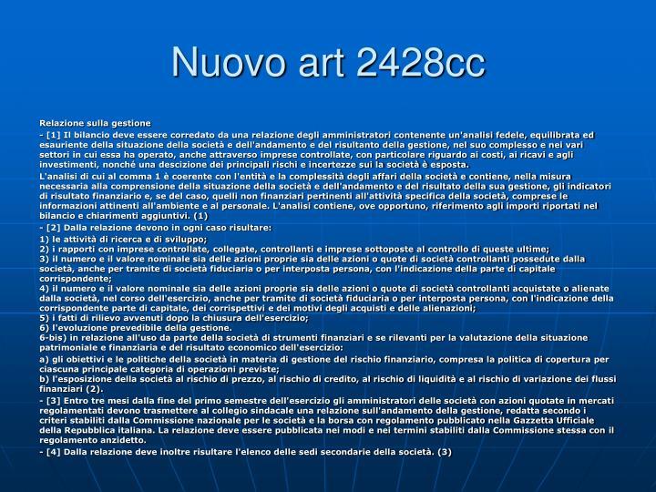 Nuovo art 2428cc