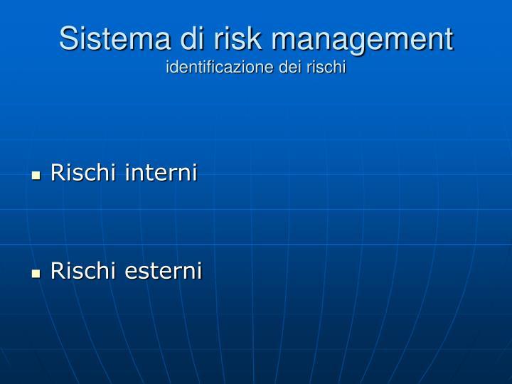 Sistema di risk management