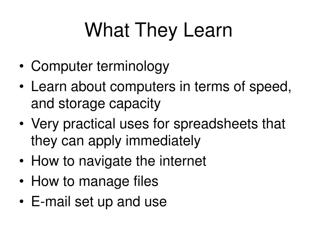 What They Learn
