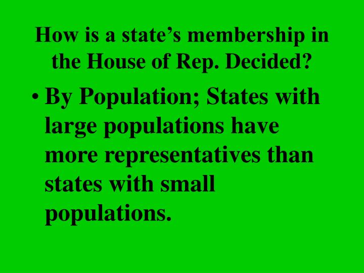 How is a state's membership in the House of Rep. Decided?