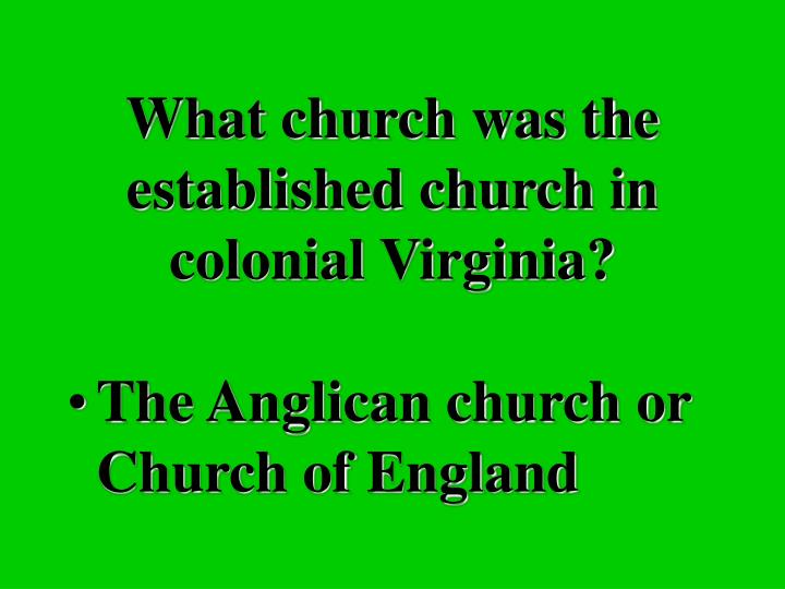 What church was the established church in colonial Virginia?