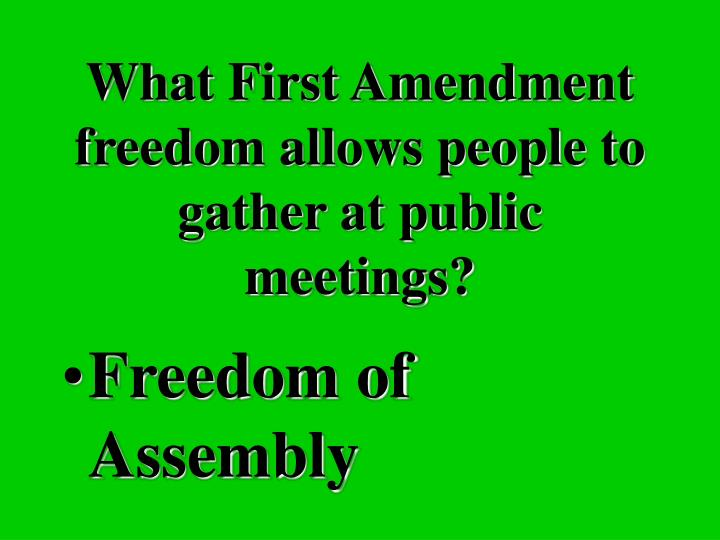 What First Amendment freedom allows people to gather at public meetings?