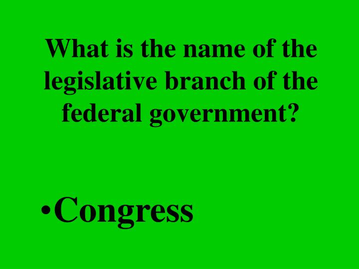 What is the name of the legislative branch of the federal government?