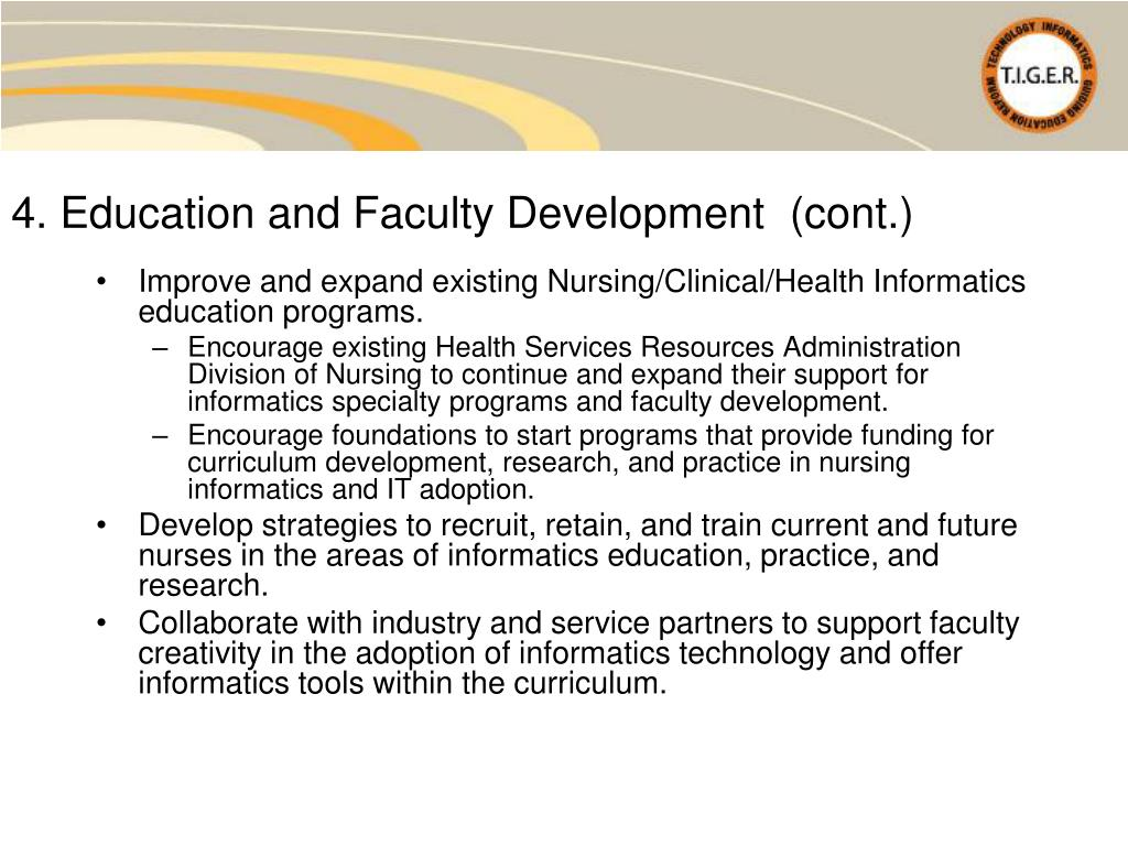 4. Education and Faculty Development  (cont.)