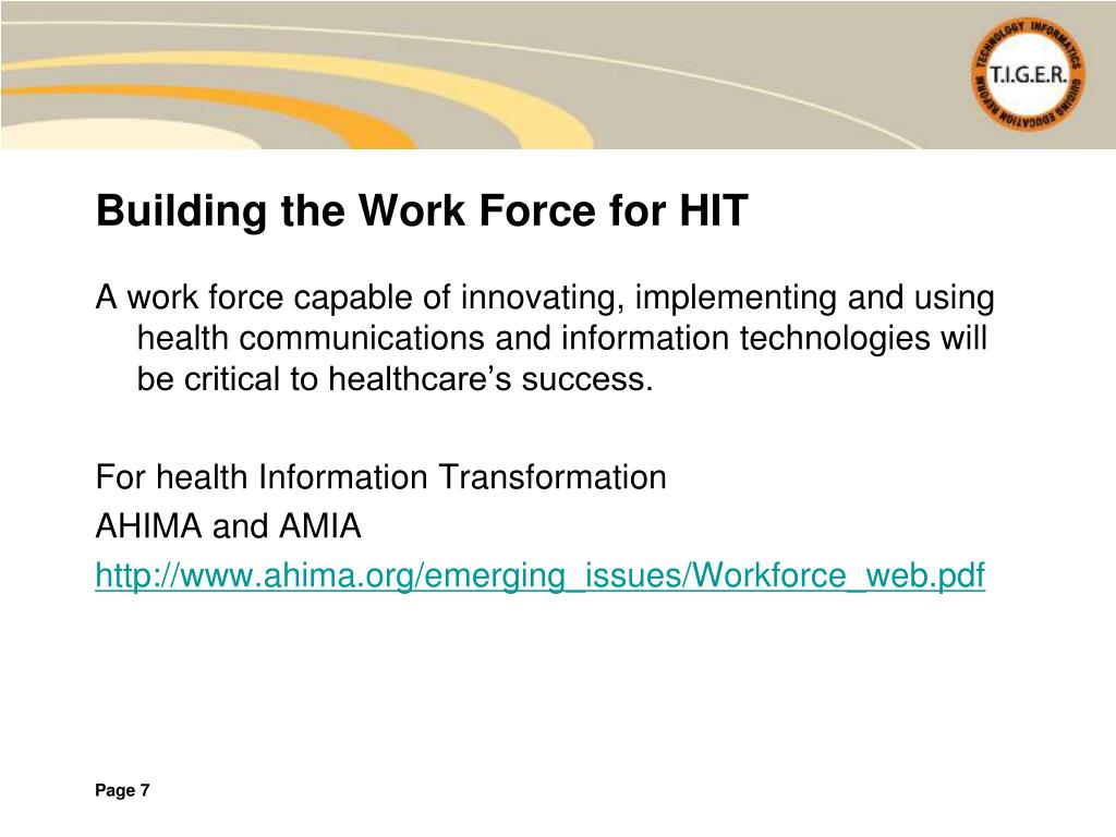 Building the Work Force for HIT