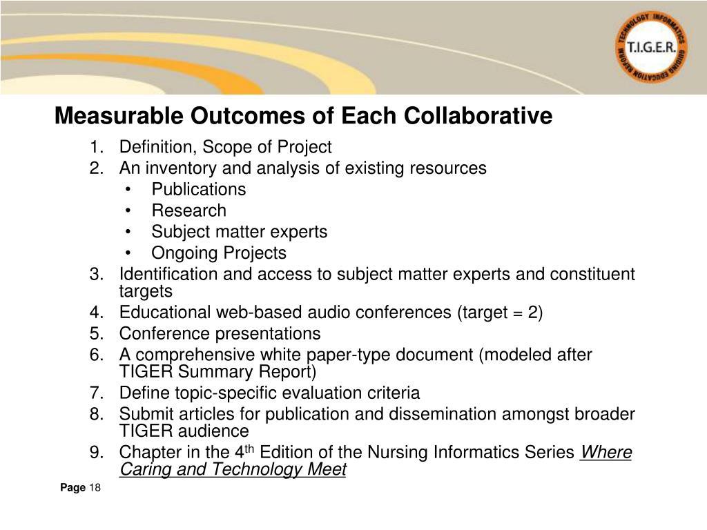 Measurable Outcomes of Each Collaborative