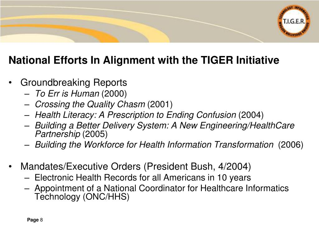 National Efforts In Alignment with the TIGER Initiative
