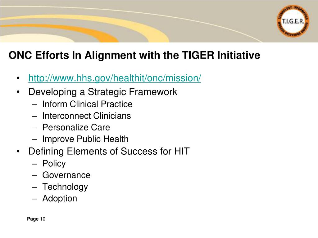 ONC Efforts In Alignment with the TIGER Initiative