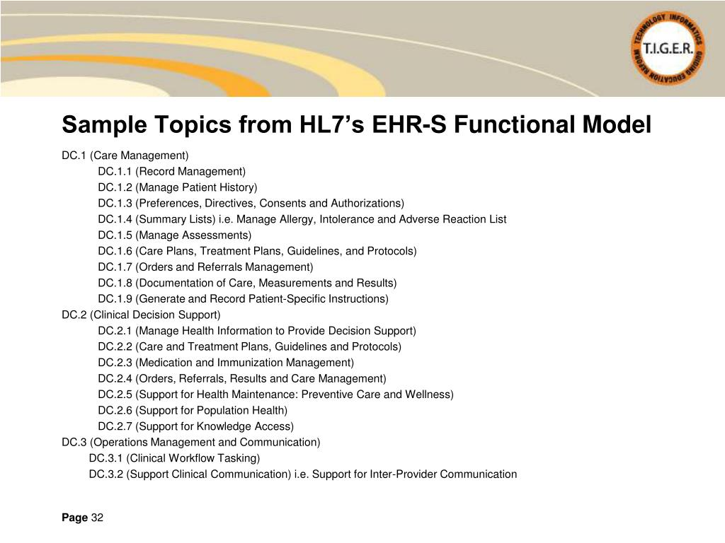 Sample Topics from HL7's EHR-S Functional Model