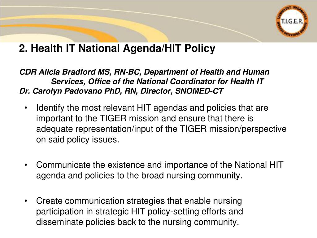 2. Health IT National Agenda/HIT Policy