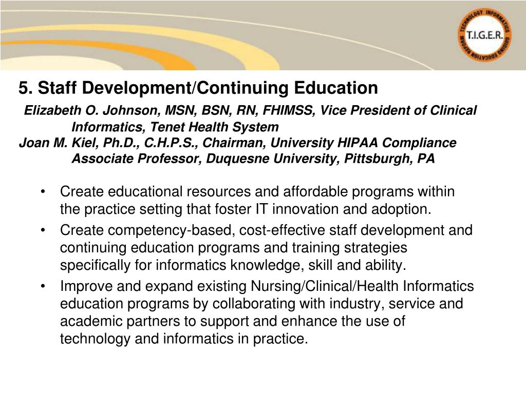 5. Staff Development/Continuing Education