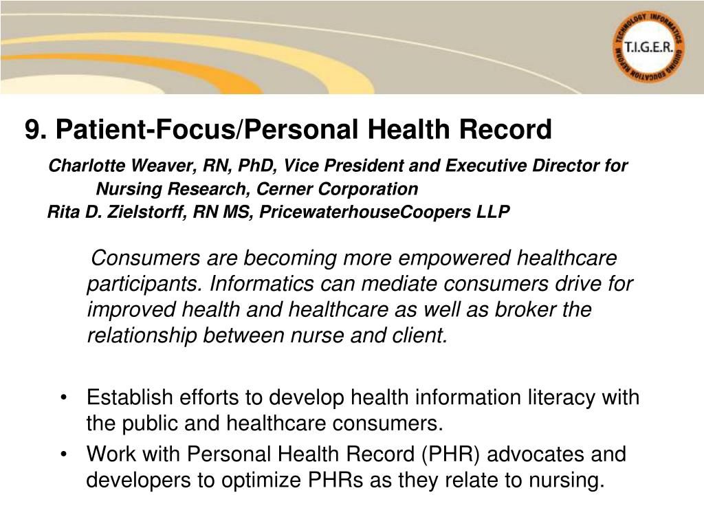 9. Patient-Focus/Personal Health Record