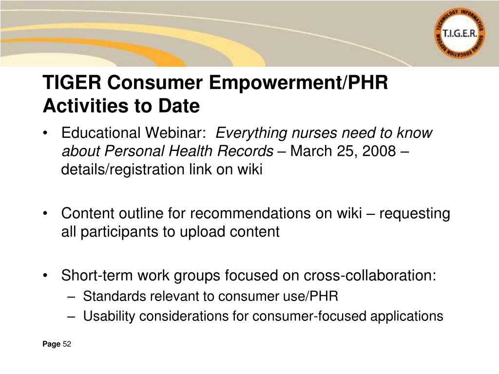 TIGER Consumer Empowerment/PHR