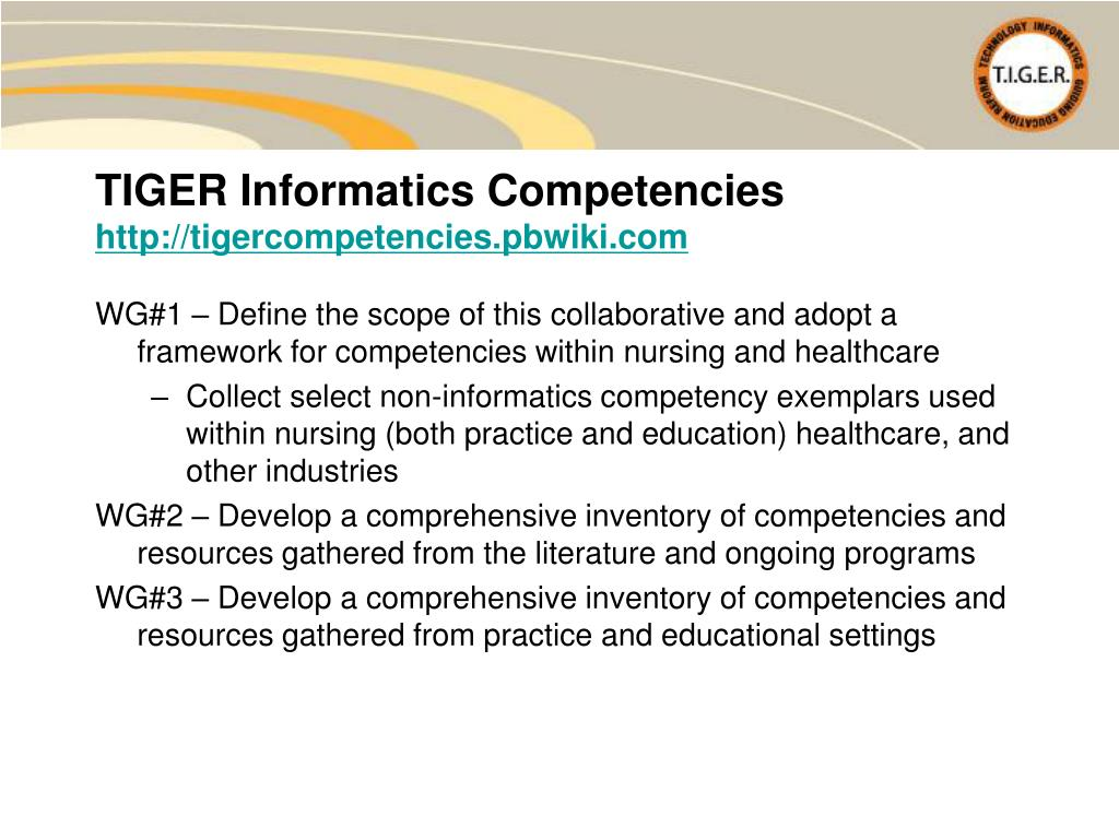 WG#1 – Define the scope of this collaborative and adopt a framework for competencies within nursing and healthcare