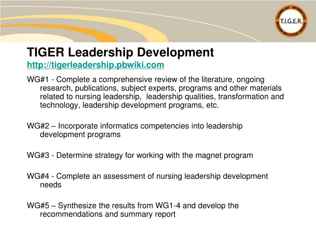 WG#1 - Complete a comprehensive review of the literature, ongoing research, publications, subject experts, programs and other materials related to nursing leadership,  leadership qualities, transformation and technology, leadership development programs, etc.