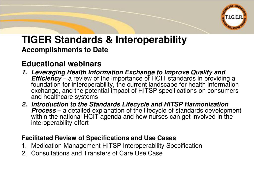 TIGER Standards & Interoperability