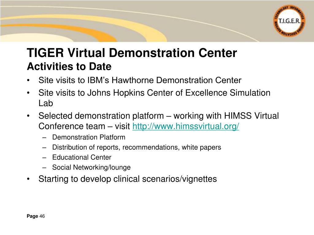 TIGER Virtual Demonstration Center