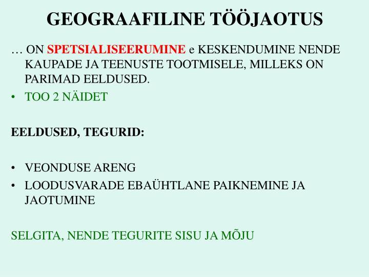 GEOGRAAFILINE TÖÖJAOTUS