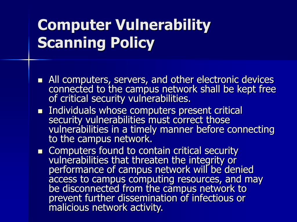 Computer Vulnerability Scanning Policy