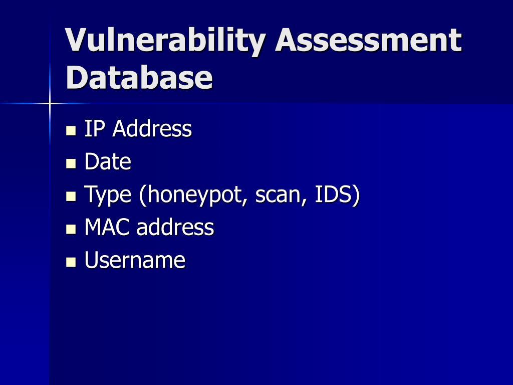 Vulnerability Assessment Database