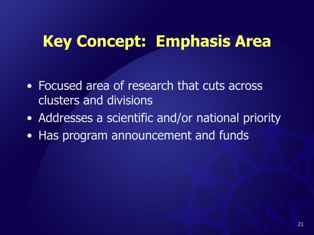 Key Concept:  Emphasis Area