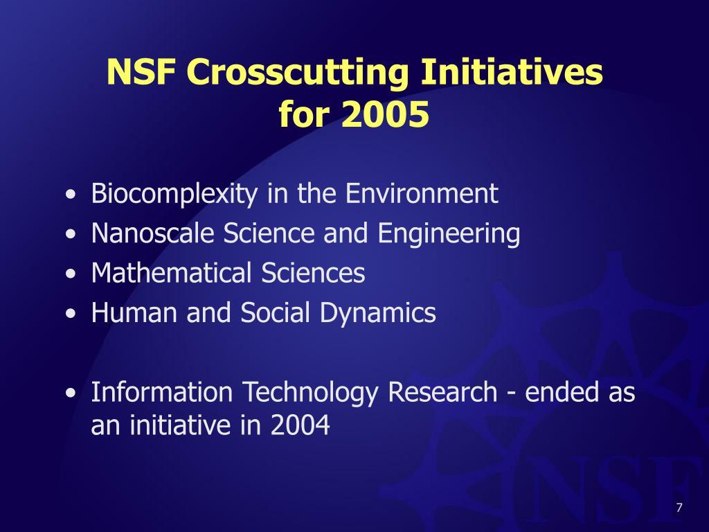 NSF Crosscutting Initiatives
