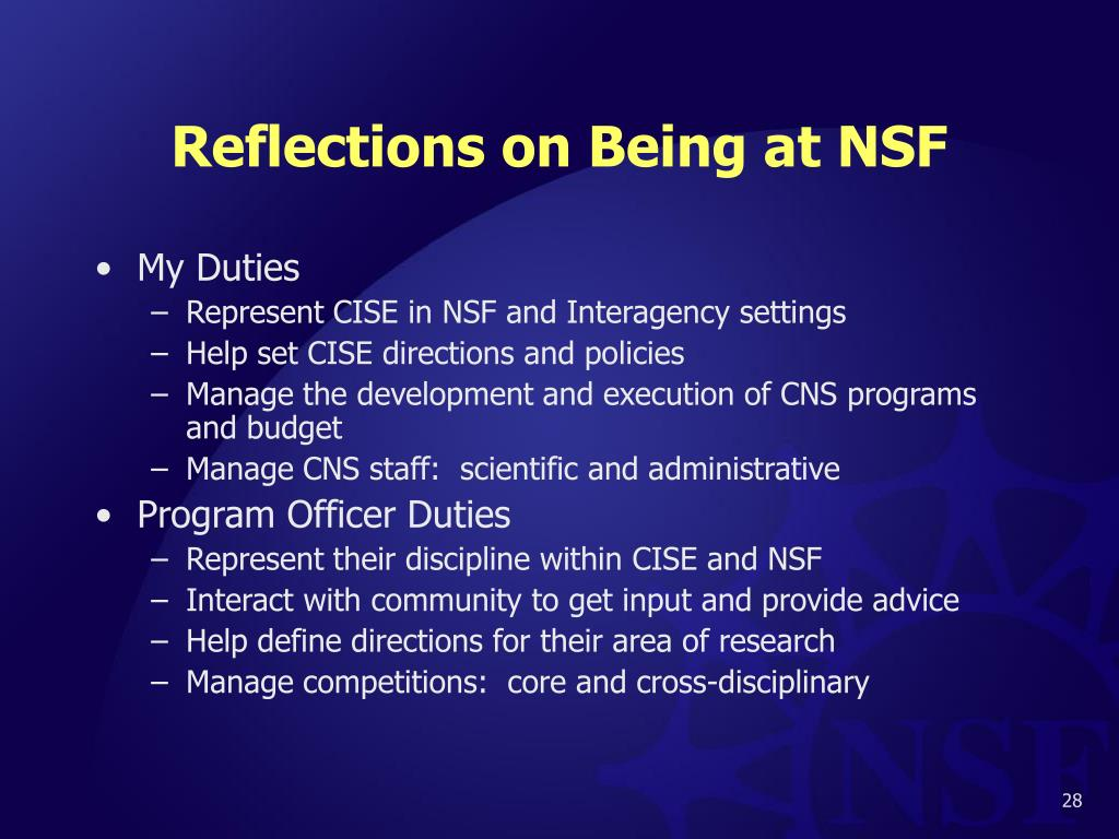 Reflections on Being at NSF