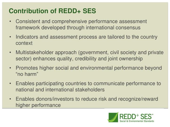 Contribution of REDD+ SES