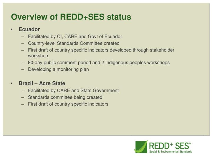 Overview of REDD+SES status
