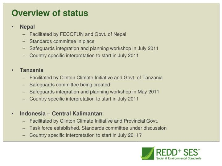 Overview of status