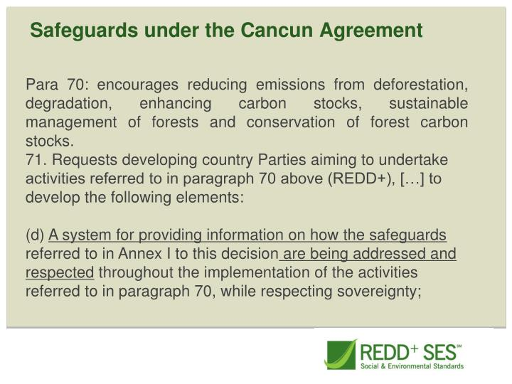 Safeguards under the Cancun Agreement