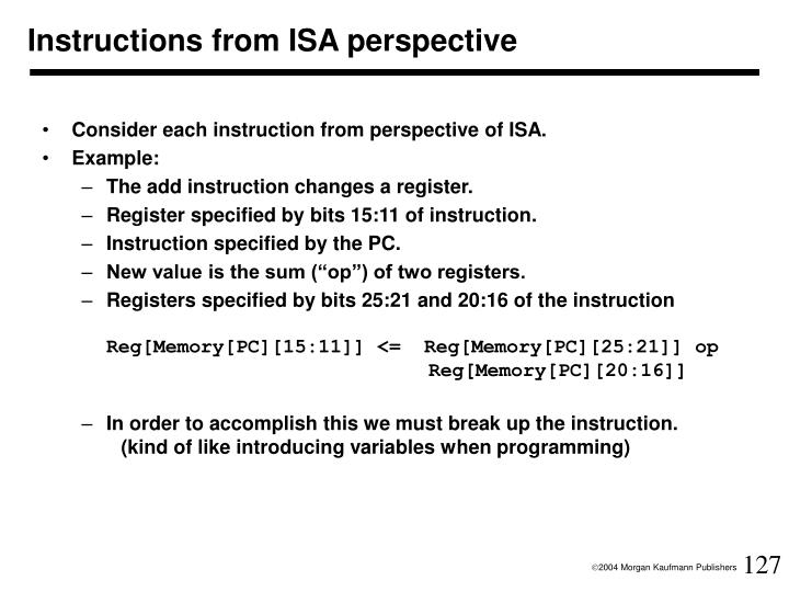 Instructions from ISA perspective