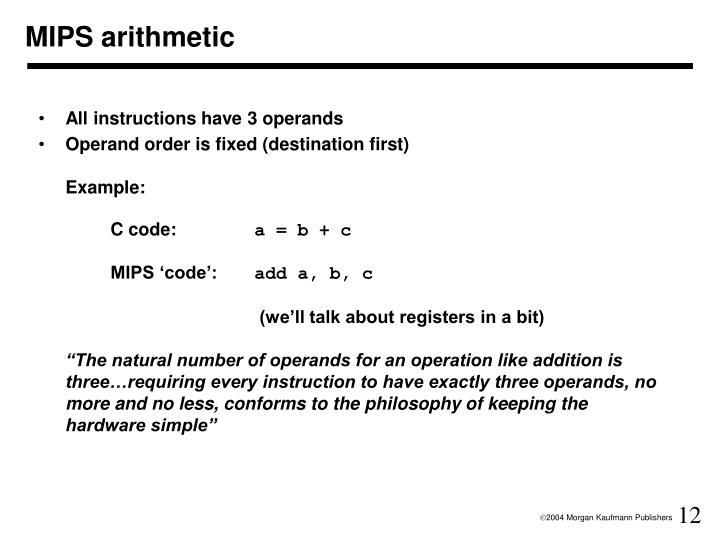 MIPS arithmetic