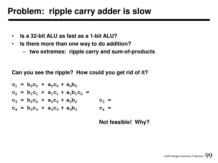 Problem:  ripple carry adder is slow