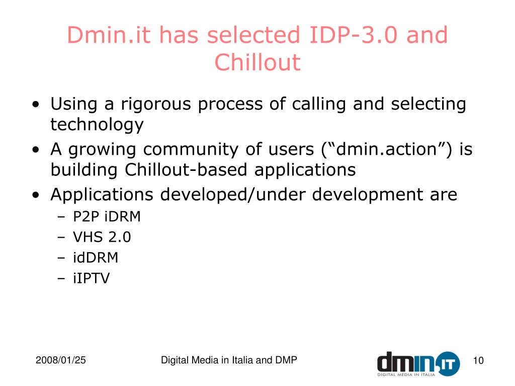 Dmin.it has selected IDP-3.0 and Chillout