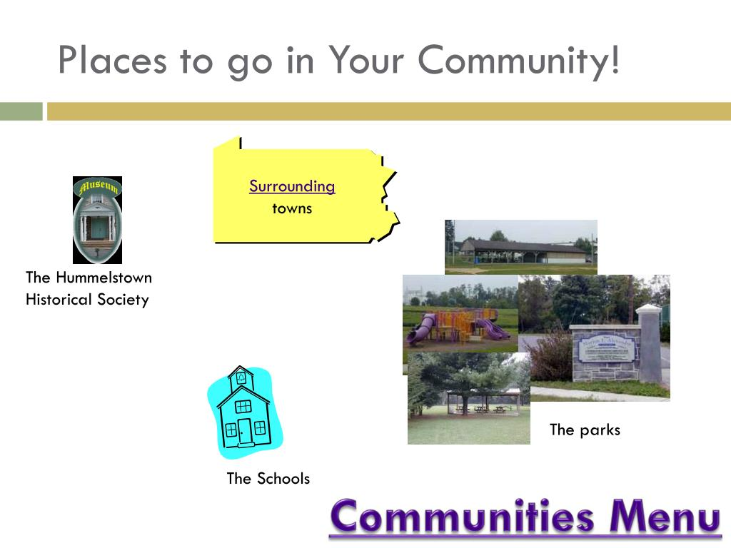 Places to go in Your Community!