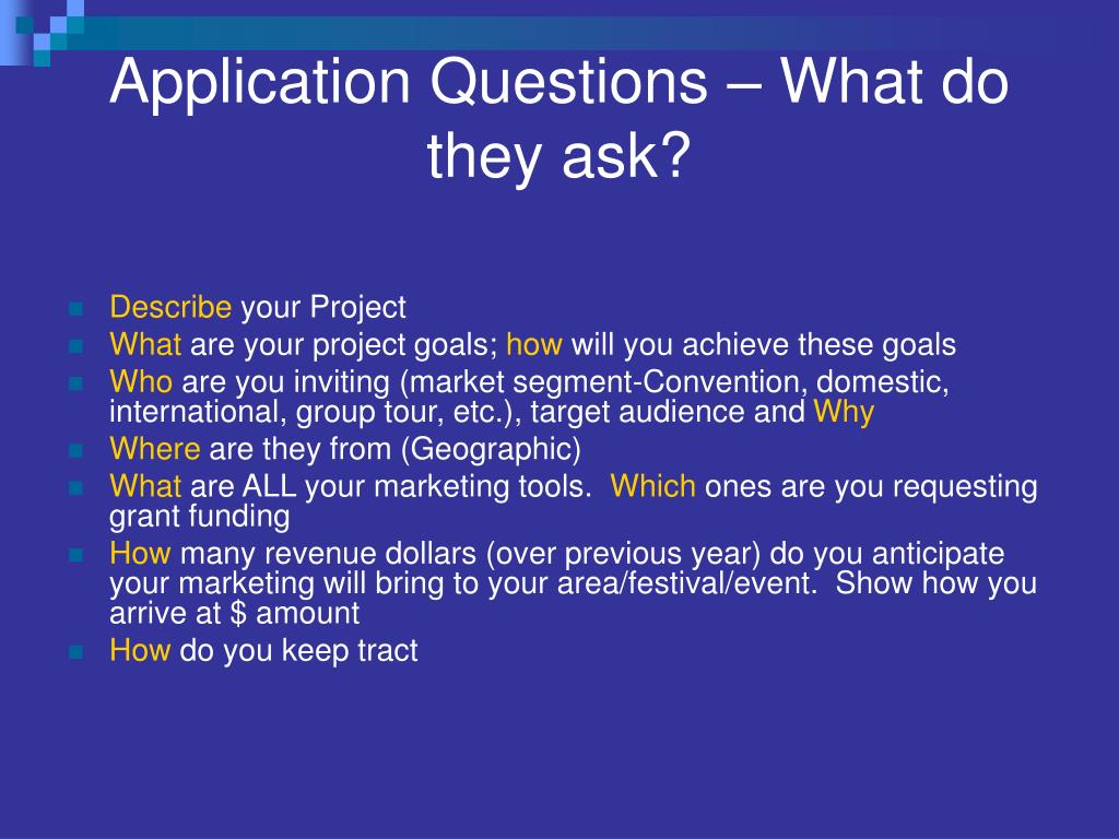 Application Questions – What do they ask?