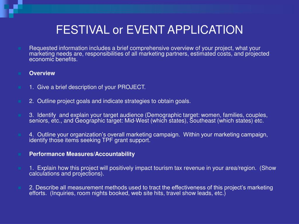 FESTIVAL or EVENT APPLICATION