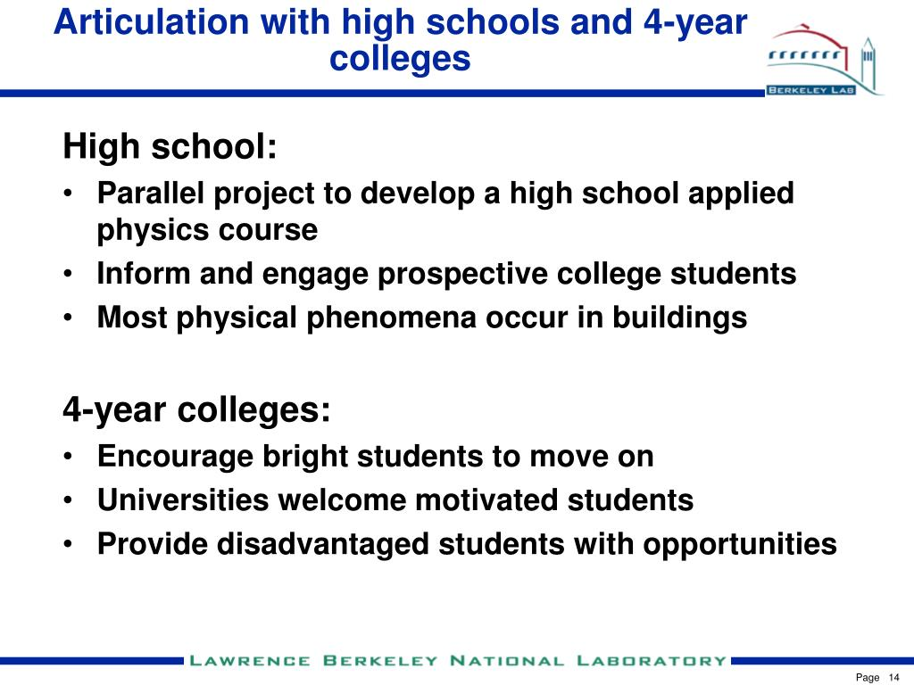 Articulation with high schools and 4-year colleges